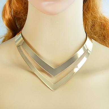 ieftine Colier la Modă-Pentru femei Guler Geometric Design Unic Modă Supradimensionat Crom Auriu Argintiu 37 cm Coliere Bijuterii 1 buc Pentru Zilnic Muncă Festival