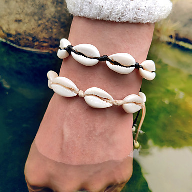 cheap Bracelets-Women's Vintage Bracelet Loom Bracelet Tropical Shell Puka Shell European Casual / Sporty Ethnic Boho Shell Bracelet Jewelry Black / White / Yellow For Gift Daily Street Holiday Work