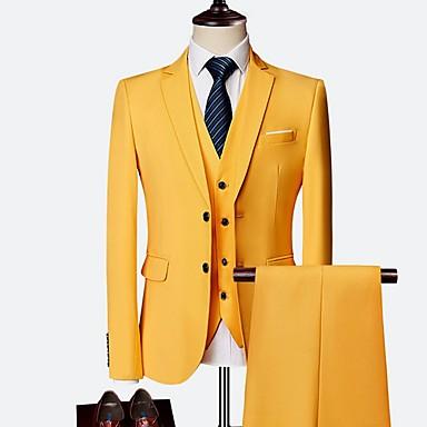 رخيصةأون سترات و بدلات الرجال-رجالي أصفر نبيذ أزرق البحرية XXXL XXXXL 5XL الدعاوى شق الصدر علوي نحيل