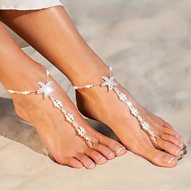 olcso Testékszerek-Női Lábékszerek Tengeri csillag Kagyló aranyos stílus Gyöngyutánzat Bokalánc Ékszerek Fehér Kompatibilitás Napi