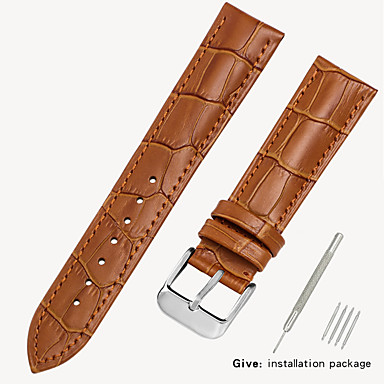 رخيصةأون إكسسوارات الساعات-جلد أصلي / جلد / شعر العجل حزام حزام إلى أسود / بني 17CM / 6.69 بوصة / 18cm / 7 Inches / 19cm / 7.48 Inches 1.2cm / 0.47 Inches / 1.4cm / 0.55 Inches / 1.6cm / 0.6 Inches