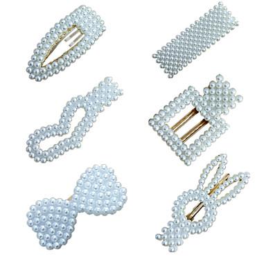 ieftine Bijuterii de Păr-Pentru femei femei Pentru Petrecere / Seară Casul / Zilnic Plastic & Metal Imitație de Perle Aliaj Alb 6pcs