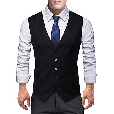 رخيصةأون سترات و بدلات الرجال-رجالي أسود رمادي XXXXL 5XL 6XL Vest فتحت الصدر عريضة