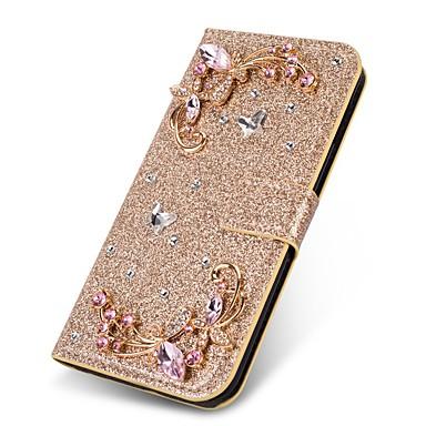 voordelige Galaxy J-serie hoesjes / covers-hoesje Voor Samsung Galaxy J8 (2018) / J7 (2017) / J7 (2018) Portemonnee / Kaarthouder / Strass Volledig hoesje Vlinder / Glitterglans Hard PU-nahka