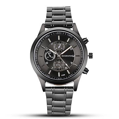 Недорогие Часы на металлическом ремешке-OGY мужские стальные пояса смотреть черные деловые платья кварцевые часы