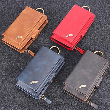 Недорогие Кейсы для iPhone 6-Кейс для Назначение Apple iPhone XS / iPhone XR / iPhone XS Max Кошелек / Бумажник для карт Кейс на заднюю панель Однотонный Твердый Настоящая кожа