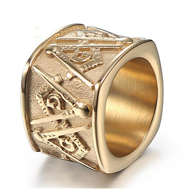 رجالي خاتم 1PC ذهبي ذهبي-أسود الصلب التيتانيوم Geometric Shape أنيق هدية مناسب للبس اليومي مجوهرات فينتاج ماسوني فرح كوول