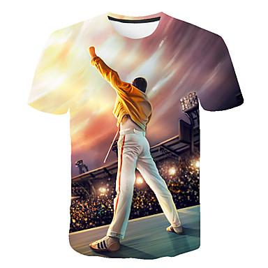 billige Herremote-Rund hals Herre - 3D / Tegneserie / Portræt Trykt mønster Basale Plusstørrelser T-shirt Regnbue / Kortærmet / Sommer