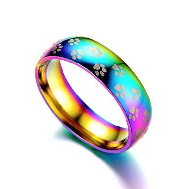 رخيصةأون خواتم-رجالي نسائي خاتم 1PC التقزح اللوني الفولاذ المقاوم للصدأ أنيق مناسب للبس اليومي مجوهرات