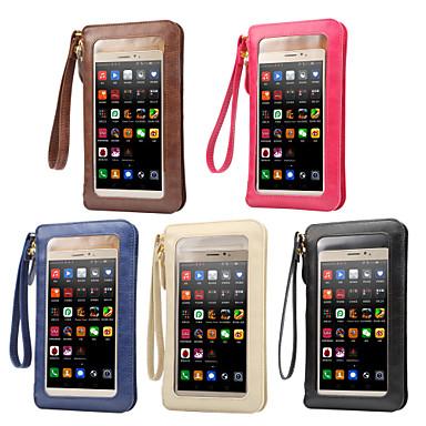 Недорогие Универсальные чехлы и сумочки-6,3-дюймовый чехол универсальный с окнами / держателем карты сумка сплошной цвет мягкая искусственная кожа
