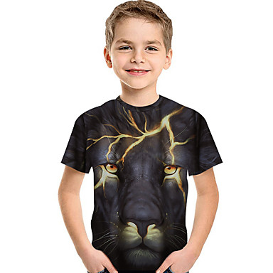 cheap Boys' 3D Clothing-Kids Toddler Boys' Active Basic Lion Print 3D Animal Print Short Sleeve Tee Black