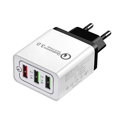 olcso iPod tartozékok-Gyors töltő USB töltő EU konnektor Több csatlakozós / QC 3.0 3 USB port 2.1 A 100~240 V mert Univerzalno