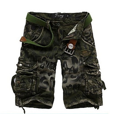 povoljno Muške hlače-Muškarci Osnovni Kratke hlače Hlače - Print / kamuflaža Plava Tamno siva Vojska Green 34 36 38