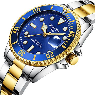 رخيصةأون ساعات الرجال-WLISTH رجالي ووتش الميكانيكية داخل الساعة ميكانيكي يدوي ستانلس ستيل فضة 30 m رزنامه قضية أوتوماتيكي مماثل موضة - أسود أخضر أزرق