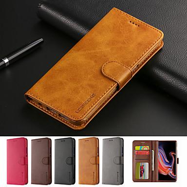 Недорогие Чехлы и кейсы для Galaxy Note-чехол для samsung galaxy note 8 примечание 9 флип-кейс чехол для всего тела сплошной цвет мягкая искусственная кожа