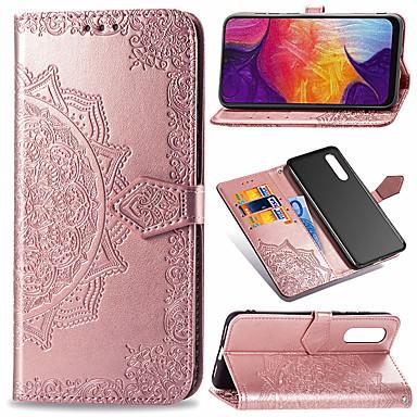 voordelige Galaxy A-serie hoesjes / covers-hoesje Voor Samsung Galaxy Galaxy A7(2018) / Galaxy A9 (2018) / Galaxy A10 (2019) Portemonnee / Kaarthouder / Flip Volledig hoesje Bloem Hard PU-nahka / TPU