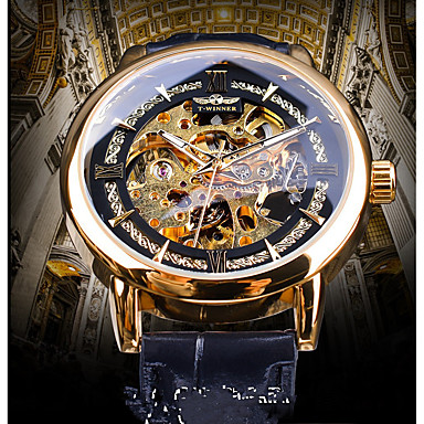 رخيصةأون ساعات الرجال-WINNER رجالي ووتش الميكانيكية داخل الساعة أتوماتيك جلد طبيعي أسود نقش جوفاء قضية ساعة كاجوال مماثل عتيق كاجوال - ذهبي أزرق