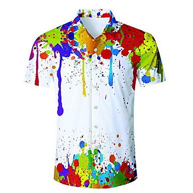 رخيصةأون قمصان رجالي-رجالي قميص قوس قزح أبيض US36 / كم قصير