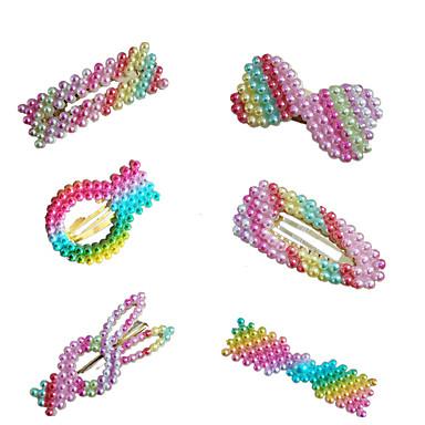ieftine Bijuterii de Păr-Pentru femei femei Pentru Vacanță Festival Plastic & Metal Imitație de Perle Aliaj Curcubeu 6pcs
