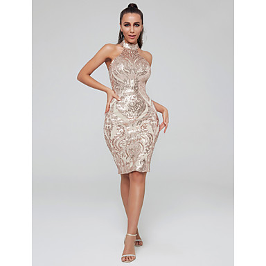 cheap Special Occasion Dresses-Sheath / Column High Neck Knee Length Sequined Sparkle & Shine Cocktail Party Dress with Sequin by TS Couture®