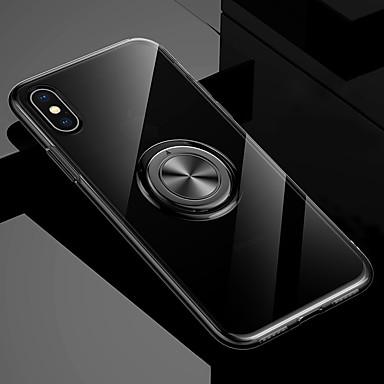voordelige iPhone 6 Plus hoesjes-hoesje Voor Apple iPhone XS / iPhone XR / iPhone XS Max met standaard / Ringhouder / Transparant Achterkant Effen Zacht TPU / Metaal
