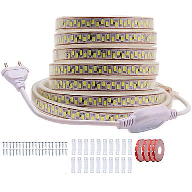 olcso LED szalagfények-Kwb 20m ragyogó dekor led led fények 220v hajlékony vízálló kötéllámpák 5730 10mm 3600lemek beltéri kültéri kereskedelmi világítási dekorációhoz