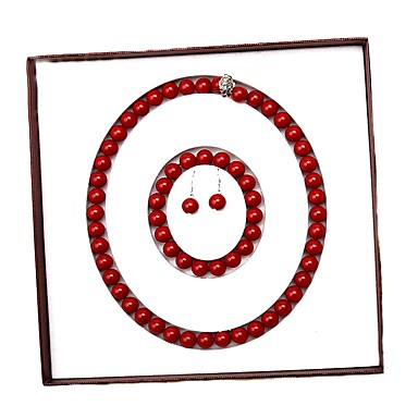 povoljno Trake i žice-crveni slatkovodni biser klasični nakit set - biser radost moda, elegantan, luksuzni crveni za događaj / party party ženske
