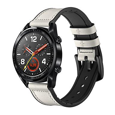 Недорогие Ремешки для часов Huawei-Ремешок для часов для Huawei Watch GT Huawei Современная застежка силиконовый / Натуральная кожа Повязка на запястье