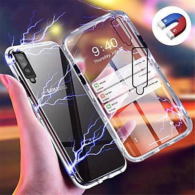 رخيصةأون حافظات / جرابات هواتف جالكسي A-غطاء من أجل Samsung Galaxy Galaxy A7(2018) / Galaxy A30 (2019) / Galaxy A50 (2019) مغناطيس غطاء خلفي لون سادة قاسي زجاج مقوى