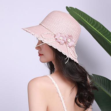 povoljno Muški šeširi-Žene Jednobojni Cvjetni print Aktivan Osnovni Slatka Style Slama-Slamnati šešir Proljeće Ljeto Blushing Pink Bež Žutomrk