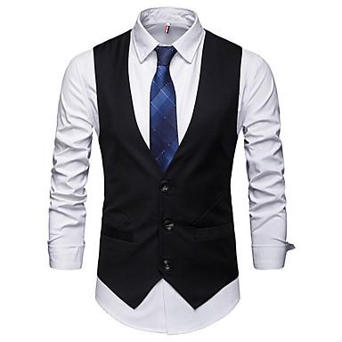 رخيصةأون سترات و بدلات الرجال-رجالي أسود رمادي XL XXL XXXL Vest V رقبة نحيل