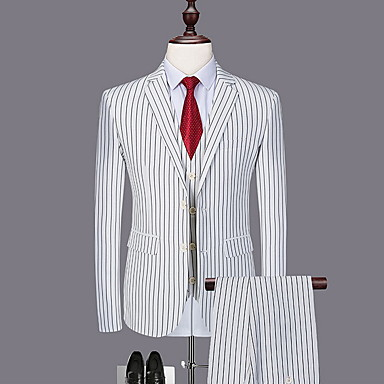 cheap Men's Blazers & Suits-Men's Plus Size Suits, Striped Shirt Collar Polyester Black