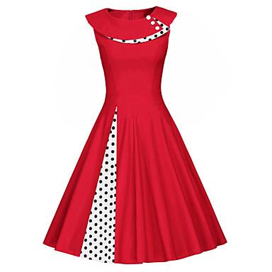 cheap Vintage Dresses-Women's Swing Dress Midi Dress - Sleeveless Polka Dot Solid Colored Patchwork Vintage Slim Black Red Navy Blue S M L XL XXL