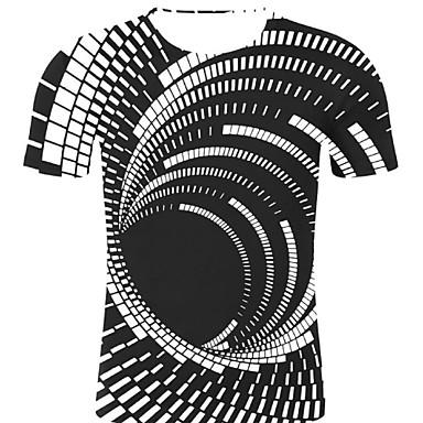 رخيصةأون تيشيرتات وتانك توب رجالي-رجالي روك / مبالغ فيه طباعة قياس كبير - قطن تيشرت, مخطط / 3D / الرسم رقبة دائرية