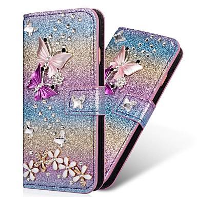 Недорогие Чехлы и кейсы для Galaxy S-Кейс для Назначение SSamsung Galaxy S9 / S9 Plus / S8 Plus Кошелек / Бумажник для карт / Стразы Чехол С сердцем / Сияние и блеск Твердый Кожа PU