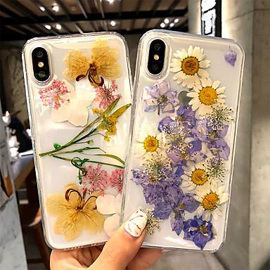 Недорогие Кейсы для iPhone-Кейс для Назначение Apple iPhone X / iPhone 8 Pluss / iPhone 8 Прозрачный Кейс на заднюю панель Цветы Твердый Акрил
