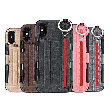 voordelige iPhone 6 hoesjes-hoesje Voor Apple iPhone XS / iPhone XR / iPhone X Ringhouder Achterkant Effen Hard PU-nahka