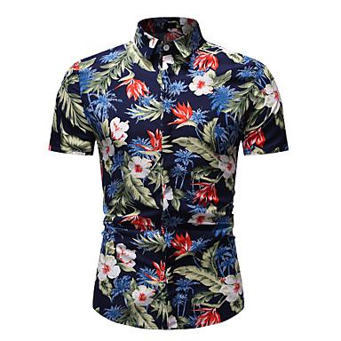 رخيصةأون قمصان رجالي-رجالي بوهو طباعة قطن قميص, ورد / كم قصير