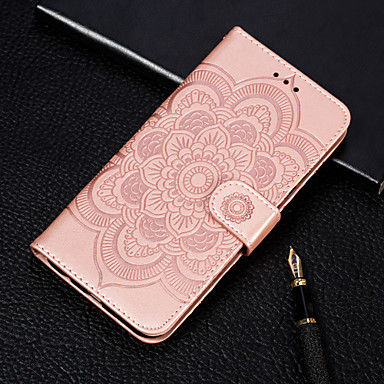 Недорогие Чехлы и кейсы для Galaxy S-Кейс для Назначение SSamsung Galaxy S9 / S9 Plus / Galaxy S10 Кошелек / Бумажник для карт / со стендом Чехол Цветы Твердый Кожа PU