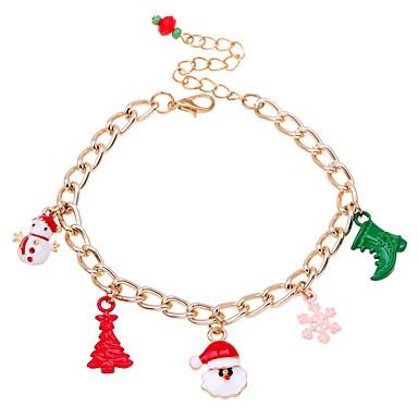 رخيصةأون أساور-نسائي أساور السلسلة والوصلة كلاسيكي بدل سانتا شجرة الكريسماس كلاسيكي موضة سبيكة مجوهرات سوار أحمر من أجل عيد الميلاد هدية