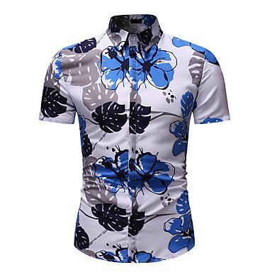 hesapli Erkek modası-Erkek Pamuklu Klasik Yaka Gömlek Desen, Çiçekli / Grafik Temel / Sokak Şıklığı Kumsal AB / ABD Beden Gökküşağı / Kısa Kollu