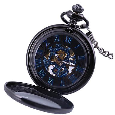 رخيصةأون ساعات الرجال-رجالي ساعة جيب داخل الساعة أتوماتيك أسود نقش جوفاء تصميم جديد ساعة كاجوال مماثل موضة هيكل عظمي - أسود