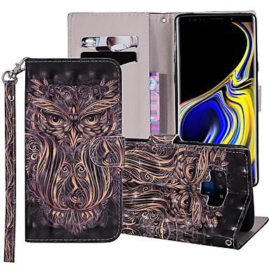 Недорогие Чехлы и кейсы для Galaxy Note-Кейс для Назначение SSamsung Galaxy Note 9 Кошелек / Бумажник для карт / со стендом Чехол Животное Твердый Кожа PU