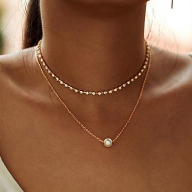 abordables Collier-mode multicouche simple strass chaîne collier tour de cou pour les femmes nouvelle chaîne en alliage de couleur d'or zircon pendentif collier cadeau