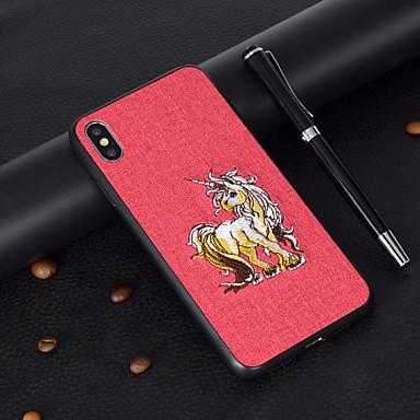 Недорогие Кейсы для iPhone 6 Plus-Кейс для Назначение Apple iPhone XS / iPhone XR / iPhone XS Max С узором Кейс на заднюю панель Животное Твердый текстильный / ТПУ