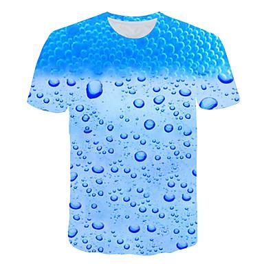 voordelige Herenmode-Heren overdreven Print Grote maten - T-shirt 3D / Grafisch Ronde hals Licht Blauw XXXXL / Korte mouw