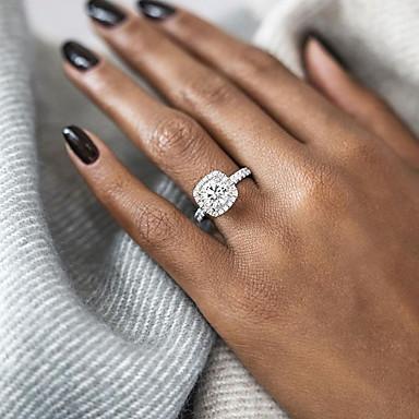 baratos Anéis Cor Dourado Rosa-Mulheres Anel de declaração Anel de noivado Belle Ring Diamante Zircônia Cubica 1pç Dourado Prata Ouro Rose Prata Chapeada Chapeado Dourado senhoras Europeu Casamento Casamento Festa Jóias Solitário