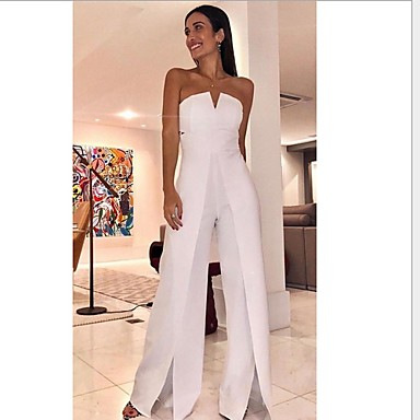 cheap Women's Tops-Women's White Wide Leg Slim Jumpsuit Onesie, Solid Colored Split / Fashion / Off Shoulder S M L Spring Summer Fall