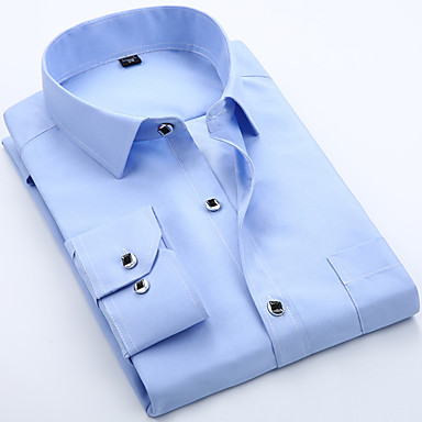 رخيصةأون قمصان رجالي-رجالي أساسي كشكش قميص, لون سادة نحيل