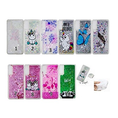 voordelige Galaxy A-serie hoesjes / covers-hoesje Voor Samsung Galaxy A6 (2018) / A6+ (2018) / Galaxy A7(2018) Stromende vloeistof / Transparant / Patroon Achterkant Vlinder / Cartoon / Veren Zacht TPU